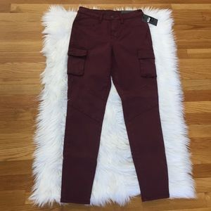 Mossimo Maroon Cargo Moto High Rise Jeggings